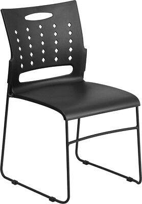 Heavy Duty Sled Base Black Plastic Office Guest Chair - Waiting Room Chair