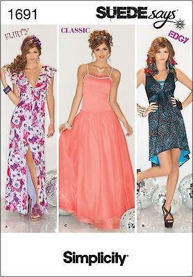 Prom Sayings (SIMPLICITY 1691 MISSES' SUEDE SAYS EVENING PROM PARTY DRESS SEW PATTERN SZ)