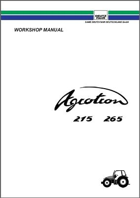 Deutz Fahr Agrotron 215 265 Tractor Service Manual Cd -- English French