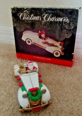 Christmas Charmers Ornament Santa's Best -SANTA + REINDEER Classic White Car (Best Classic Car Auctions)