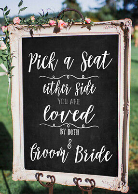 ~ Chalkboard PRINT~ Pick a Seat /Wedding Sign  12'' x 18'' inch - Rustic/Chic.