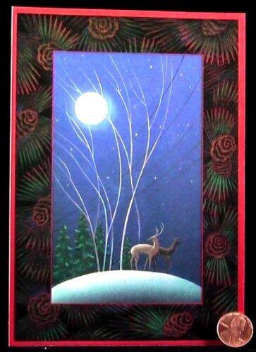 Vintage Christmas Reindeer Snow Trees Moon Pinecones Hallmark Card - W/ TRACKING