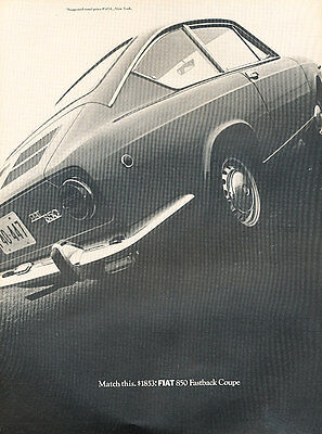 1968 Fiat 850 Fastback Coupe - Match - Classic Vintage Advertisement Ad D139