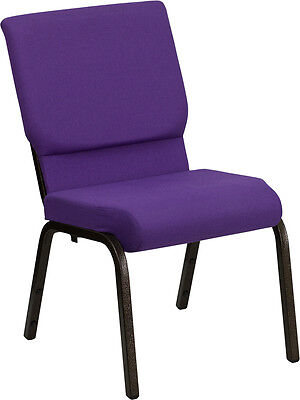 Lot Of 100 18.5w Purple Fabric Stacking Church Chair - Gold Vein Frame