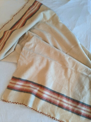 "Vintage Cream Gray Brown Striped Throw Blanket 72"" x 68"" 100% Wool Heavy Large"