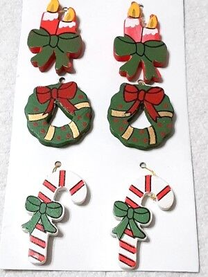 Miniature Wood Christmas Tree Ornaments 6pc 1 inch Package Topper Wreaths BXO ()