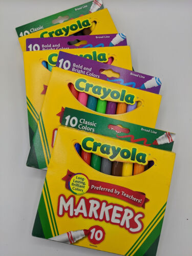 4 Pack Crayola Washable Markers,  Bold And Bright Colors Total 37 Markers NEW