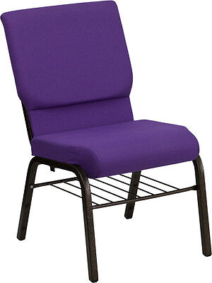 18.5w Purple Fabric Church Chair With Book Rack Gold Vein Frame