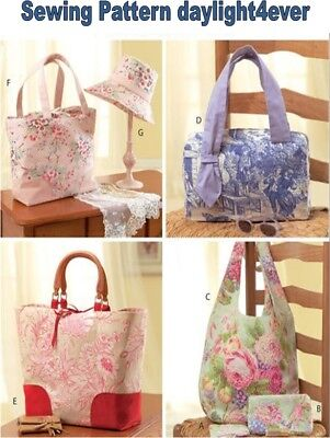 Handbags Purse Tote Hobo Bag Bucket Hat Sewing Pattern 4400 McCall's New #k