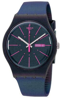 Swatch Women's New Gentleman Analog Quartz Navy Plastic/Silicone Watch SUON708