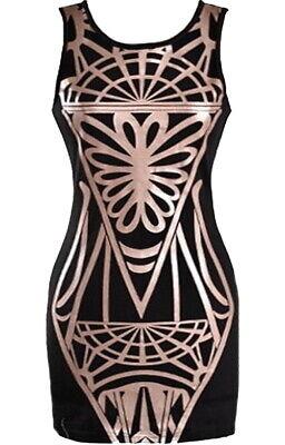 BRAND NEW ASOS BLACK CARAMEL APPLIQUE FIGURE-FLATTERING BODYCON DRESS XS S (Asos Brands)