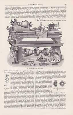 Metallvearbeitung Maschinenbau Drehbank STICH um 1908 Revolverbank Bohrer