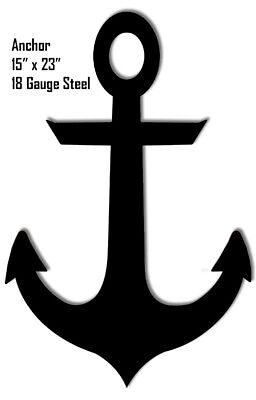 Anchor Silhouette Laser Cut Out Metal Sign 15x23