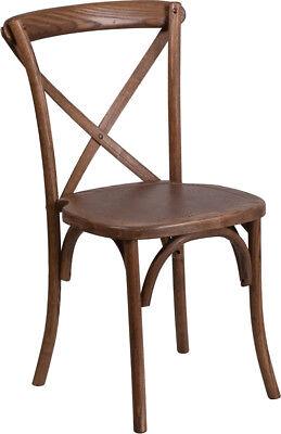 Bistro Style Cross Back Pecan Wood Stackable Restaurant Chair