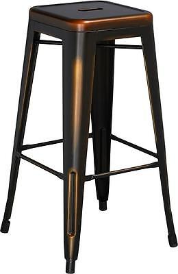 30'' HIGH BACKLESS DISTRESSED COPPER METAL INDOOR BARSTOOL