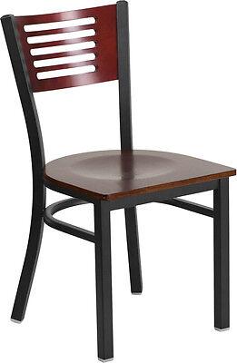 Black Decorative Slat Back Metal Restaurant Chair - Mahogany Wood Back Seat