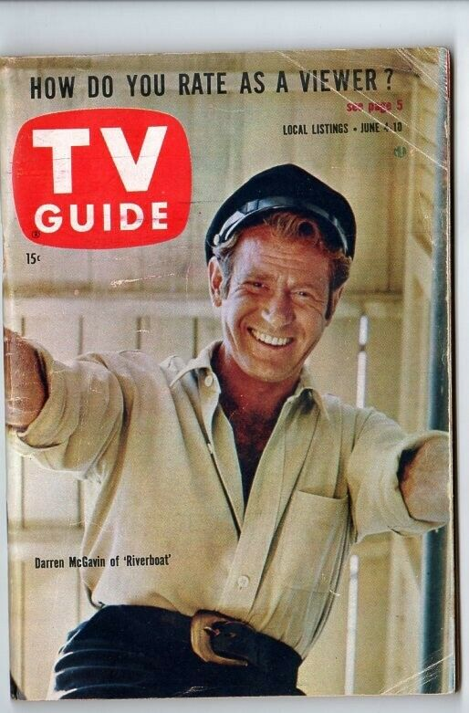 TV Guide June 4 1960 Darren McGavin Riverboat Chicago Ed. Creased - $3.00