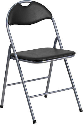 NEW BLACK VINYL METAL PADDED FOLDING CHAIRS WITH CARRYING HANDLE