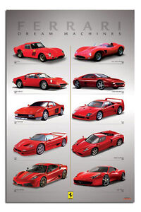 Ferrari Dream Machines Sports Car Large Wall Poster New