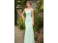 4 NEW Illusion scoop neck lace appliqued sheath style long bridesmaids dresses