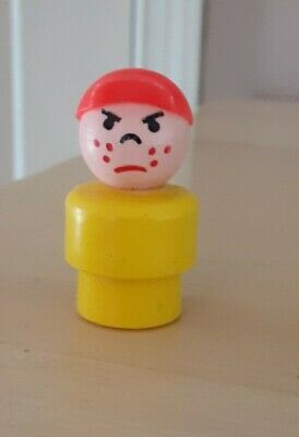 Vintage Fisher Price little people yellow mad boy/bully w/red cap