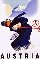 Austria Skiing Ski - Deco Man Downhill - Travel Vacation A3 Art Poster Print -  - ebay.co.uk
