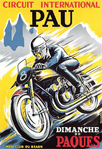 Art-Deco-Pau-Cicuit-Motorcycle-Bike-A3-Art-Poster-Print