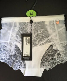 M&S White Lace Pants/Panties/Brief Brand New Rrp £10:50
