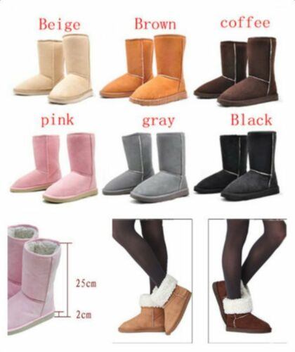 Xmas Women's Suede Fur Lined Mid-calf Snow Flat Ankle Boots Winter Warm Shoes