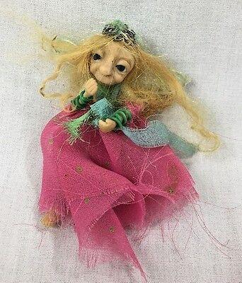 Handmade Polymer Clay Sculpture Small Fairy Art Doll Auburn Hair/Blue Eyes