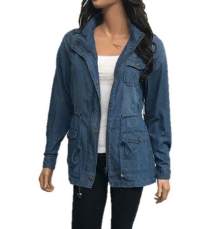 Women's Denim  Chambray LightWeight  Anorak Shirt Jacket