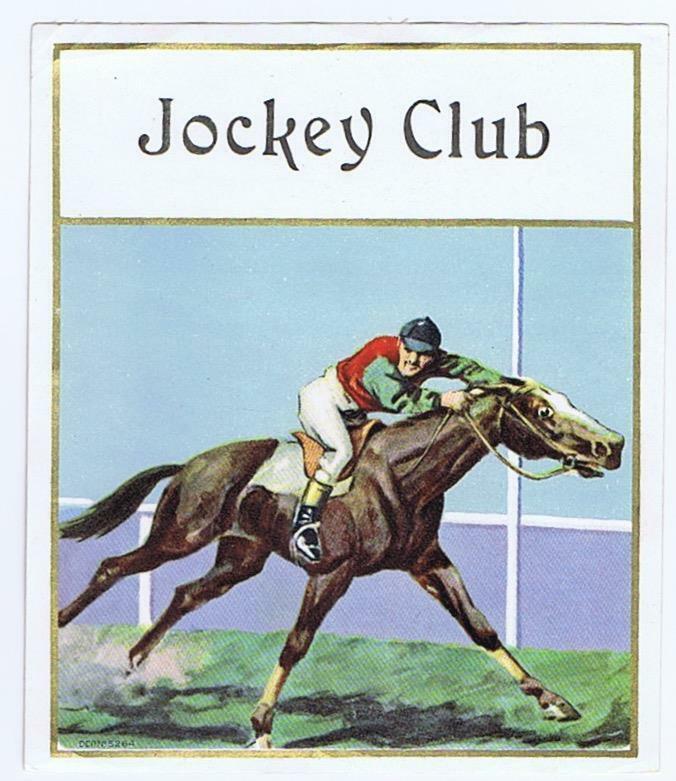 Jockey Club original outer cigar box label  horse racing