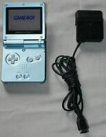Game Boy Advance SP Pearl Blue & Power Adapter