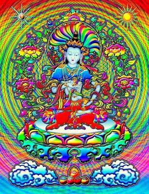 "4.5"" RARE Lovely Buddha on colorful lotus flower vinyl sticker. Meditation decal"