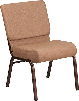 Lot Of 50 21 Extra Wide Brown Fabric Stacking Church Chair With 4 Thick Seat