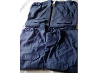 Four pairs of 5-6 year old charcoal grey school trousers with adjustable waistband