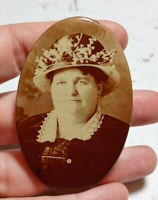 Vintage Large Woman with Fancy Hat Real Photograph Celluloid Pocket Mirror