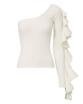 Beaufille new electra one shoulder ruffle top, white size xs