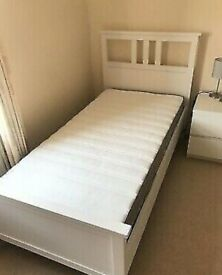 I can deliver - Great condition White IKEA Hemnes single size Bed Frame + Mattress
