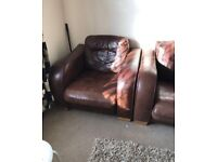 JOHN LEWIS 3 seater sofa with armchair leather