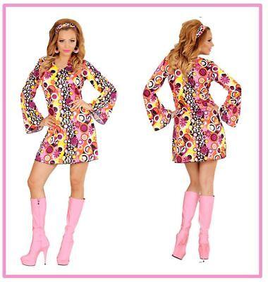 b bunt Kreise Groovy Style Kleid Kostüm 70er Jahre , (K) (Hippie Groovy)