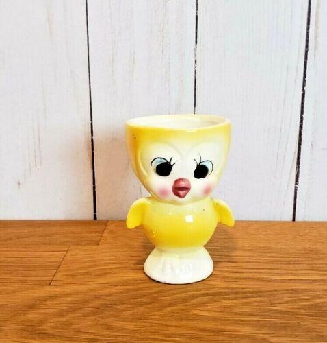 Vintage Egg Cup Kitchenware Japan Ceramic Bird Anthropomorphic Chick Eyelashes