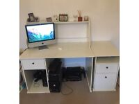 Ikea desk with shelf and cabinet