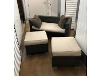 FREE DELIVERY RATTAN GARDEN SOFA AND TWO STOOLS WITH CUSHIONS GOOD CONDITION