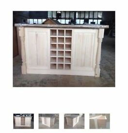 Solid Pine Island Unit with Traditional Turned Corner Profiles