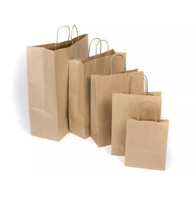 Brown Kraft Paper Carrier Bags with Twist Handles