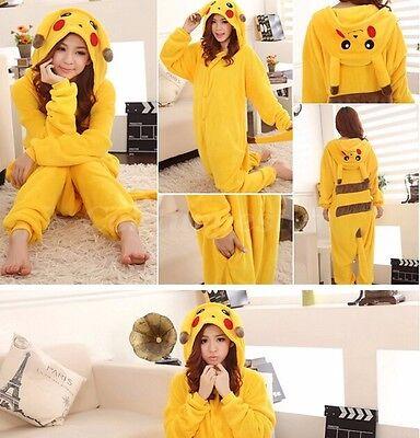 Unisex Erwachsene Kinder Pikachu Kostüm Cosplay Tier Pyjamas Nachtwäsche - Pyjama Kostüm Kinder