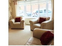 Leather 3 seater sofa & 2 chairs, neutral colour