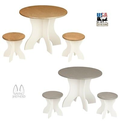 ROUND ACTIVITY TABLE & STOOLS - Solid Wood 3 Piece Play Set Amish Handmade USA 3 Piece Birch Table
