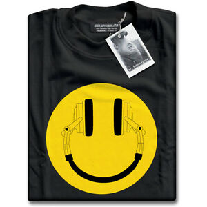 Headphone-Acid-House-Smiley-from-DJ-Cans-Mens-Black-Music-Clubbing-Funky-T-Shirt